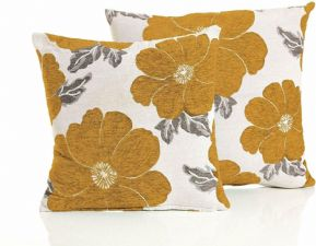 2  X  ANTIQUE MUSTARD GOLD VELVET POPPY FLOWERS LINEN CUSHION COVERS £9.95 SET